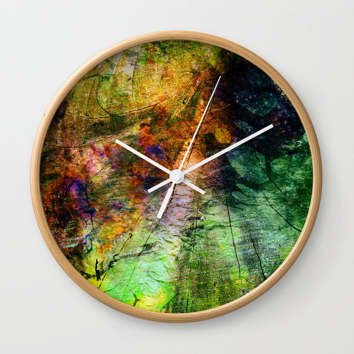 ink in wood Wall Clock