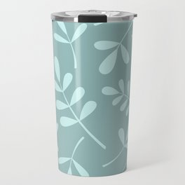 Assorted Leaf Silhouettes Teals Travel Mug