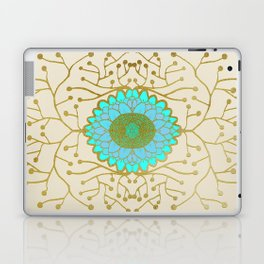 Turquoise and Gold Sunflower Laptop & iPad Skin
