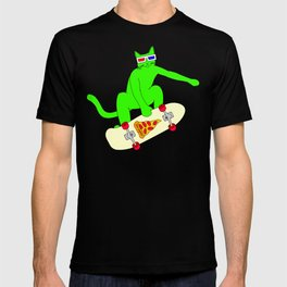 """""""Psychedelic Skateboarding Pizza Cat #3"""", by Brock Springstead T-shirt"""
