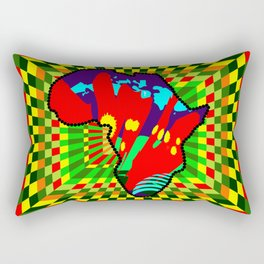 Colorful African Checkered Abstract Print Rectangular Pillow