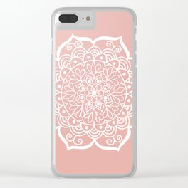 Pretty Mandala on Rose Gold Clear iPhone Case