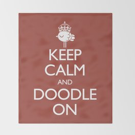 Keep Calm & Doodle On (Red) Throw Blanket
