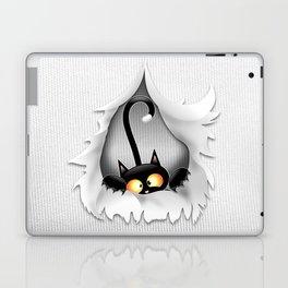 Fun Cat Cartoon in ripped fabric Hole Laptop & iPad Skin