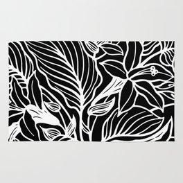 Black White Floral Rug