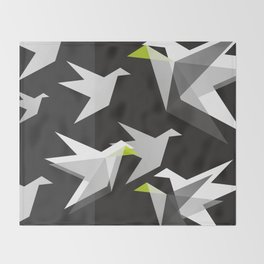 Black and White Paper Cranes Throw Blanket
