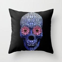 Skull Art - Day Of The Dead 1 Stone Rock'd Throw Pillow