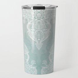 Lace & Shadows - soft sage grey & white Moroccan doodle Travel Mug