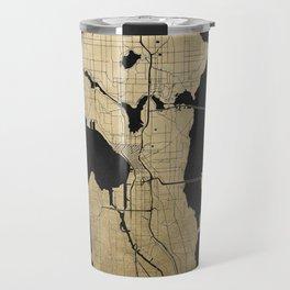 Seattle Black and Gold Street Map Travel Mug