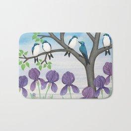 tree swallows & irises Bath Mat
