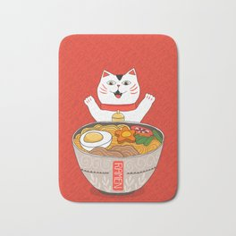 Liter of Ramen. Japanese soup and Manekineko cat. Bath Mat