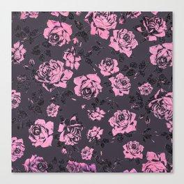 Blush Pink and Black Floral Print Rustic Roses Canvas Print