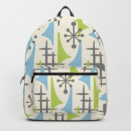 Mid Century Modern Atomic Wing Composition 92 Blue Chartreuse and Gray Backpack