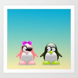 two little penguins Art Print