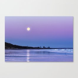 Supermoon setting at Saltburn-by-the-sea Canvas Print