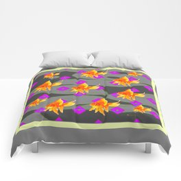Decorative Gold Fish Modern Grey  Abstract Comforters