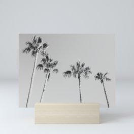 Black Palms // Monotone Gray Beach Photography Vintage Palm Tree Surfer Vibes Home Decor Mini Art Print