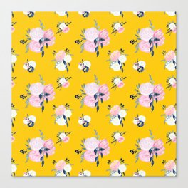 Spring Florals on Mustard Yellow Canvas Print
