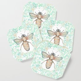 Garden Bee and Blooming Flowers Coaster