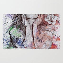 The Withering Spring: Wine (nude tattooed girl with flowers) Rug