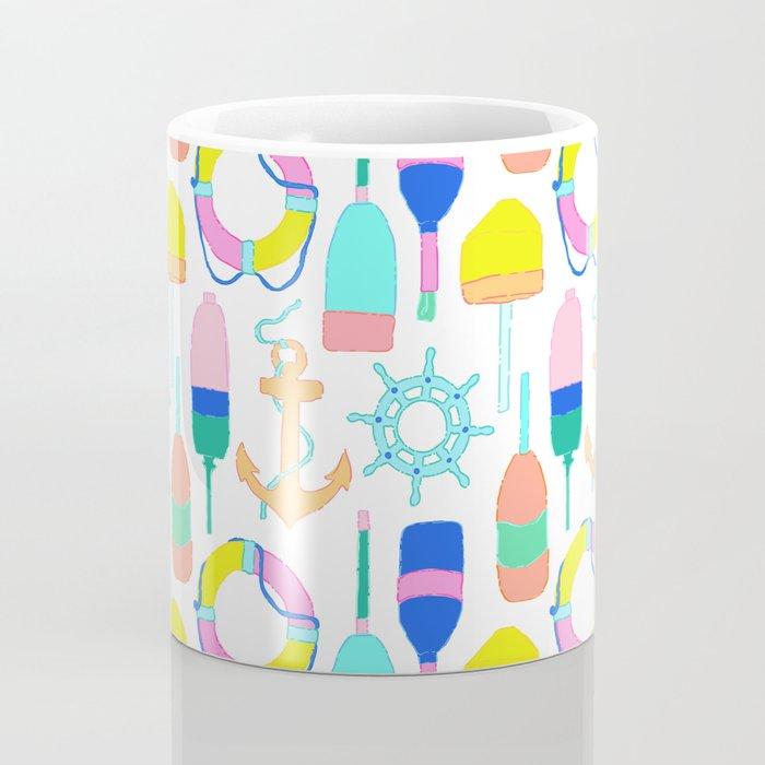 Nautical Notions in White + Candy Rainbow Coffee Mug