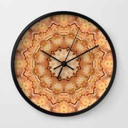 Round ornaments kaleidoscope yellow . Mandala . Wall Clock
