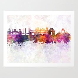 Karachi skyline in watercolor background Art Print