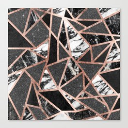 Modern Rose Gold Glitter Marble Geometric Triangle Canvas Print