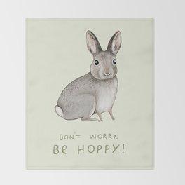 Don't Worry Be Hoppy Throw Blanket