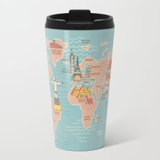 World Map Cartoon Style Travel Mug