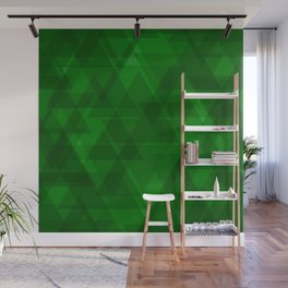 Bright green triangles in intersection and overlay. Wall Mural
