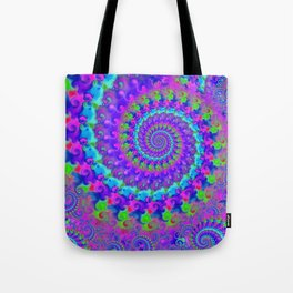 Funky Blue Fractal Pattern Tote Bag