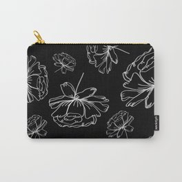 Hand Drawn Peonies Black Carry-All Pouch
