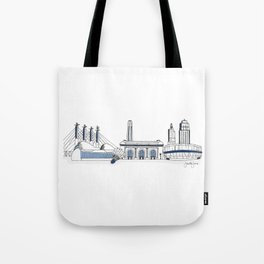 Kansas City Skyline Illustration in Sporting KC Colors Tote Bag