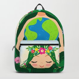 Beautiful Flowing Flower Earth Mother Figure Backpack