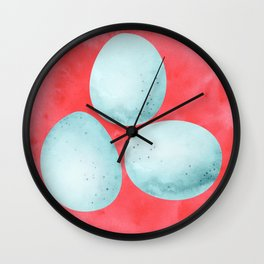 Robin's Egg Trio - Blue and Red Wall Clock