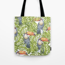 Watercolor Toucan Painting With Tropical Leaves Pattern Tote Bag
