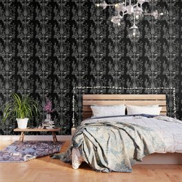 Santa Fe Garden – White Ink on Black Wallpaper