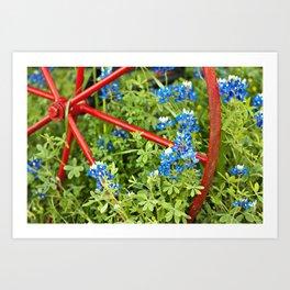 Texas Bluebonnet and the Wagon Wheel Art Print