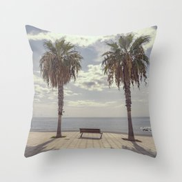 Palm trees in Palma de Mallorca Throw Pillow