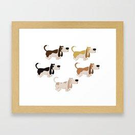 Basset Hound Colors Illustration Framed Art Print