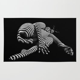 7841-KMA BW Striped Fine Art Nude Woman Emerging From Fetal Position Rug