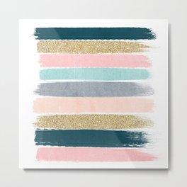 Zara - minimal gold navy pink pastel stripes painterly boho decor trendy gifts Metal Print