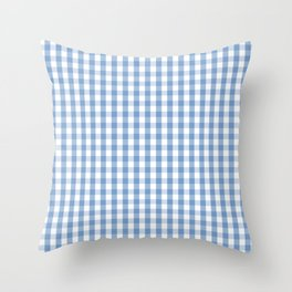 Classic Pale Blue Pastel Gingham Check Throw Pillow