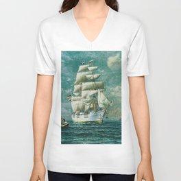 Vintage Large White Sailboat Painting (1895) Unisex V-Neck