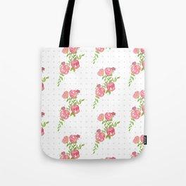 Polka Dot Floral Tote Bag
