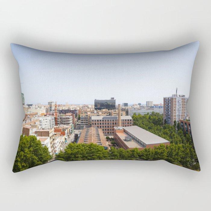Barcelona Urbanscape Rectangular Pillow