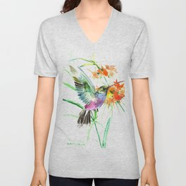 Hummignbird and Flowers Unisex V-Neck