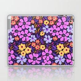 09 Anazing Floral pattern. Dark blue background. Lilac flowers. Laptop & iPad Skin