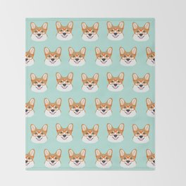Corgi glasses cute funny dog gifts for welsh corgi dog breed owners must haves by pet friendly Throw Blanket